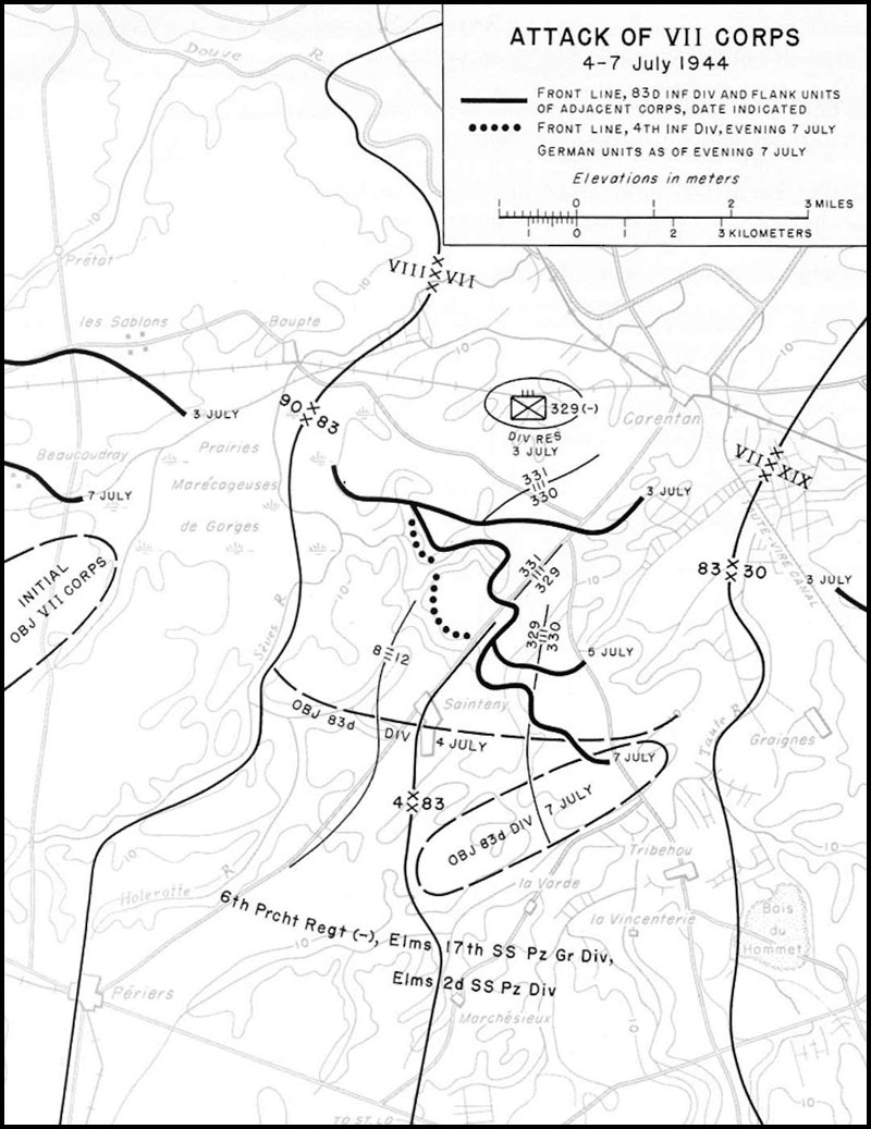 hyperwar us army in wwii the breakout and pursuit chapter 5 105Mm Shell Description map 4 attack of vii corps 4 7 july 1944