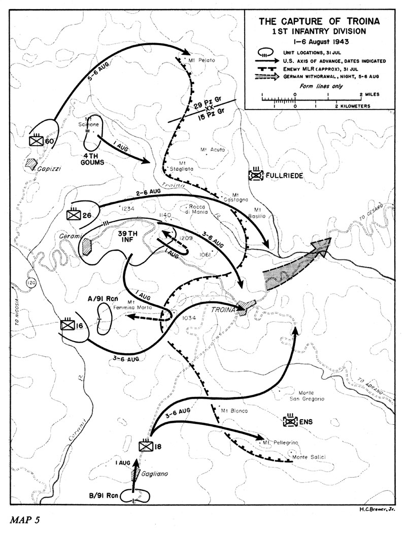 hyperwar us army in wwii sicily and the surrender of italy 56th Infantry Division 1st infantry division 1 6 august 1943