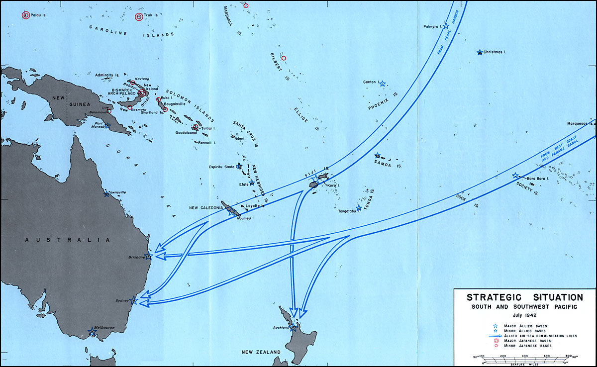 Strategic Situation South And Southwest Pacific July 1942