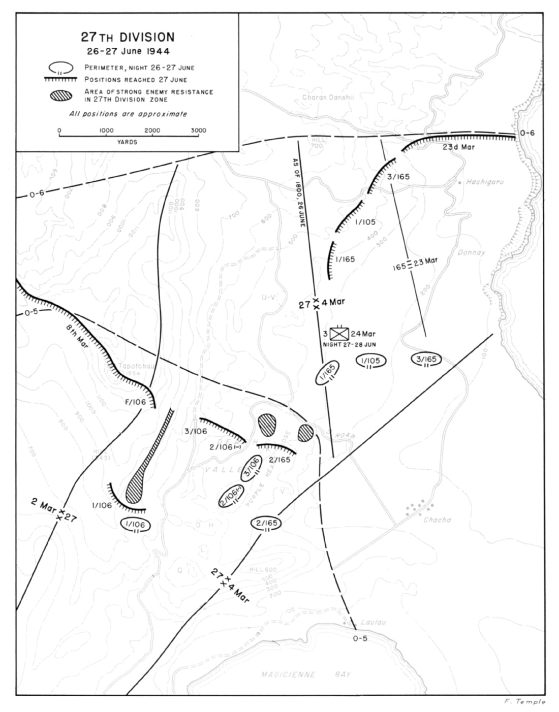 hyperwar us army in wwii c aign in the marianas Timberwolves 104th Infantry Division map 9 27th division 26 27 june 1944