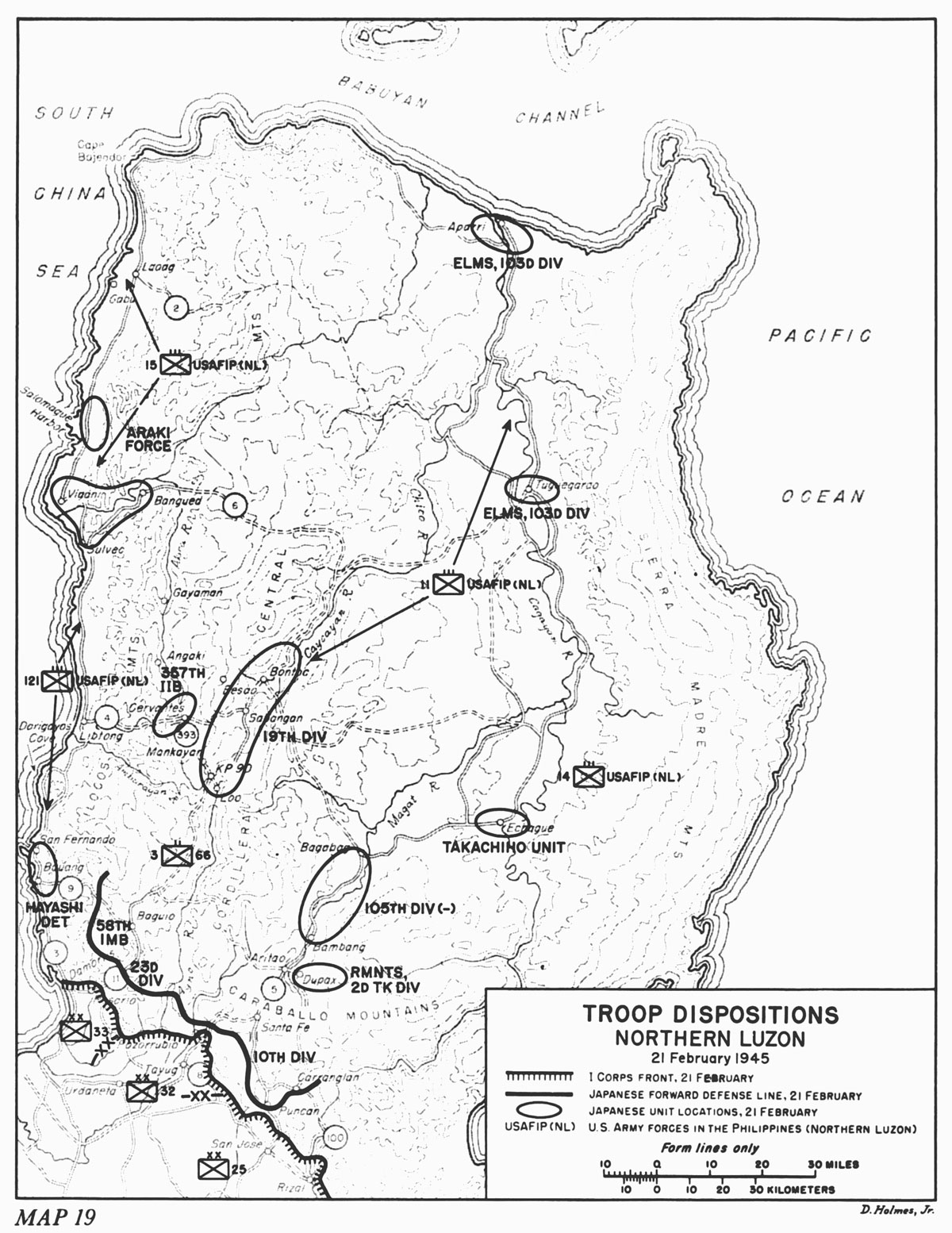 Troop Dispositions Northern Luzon 21 February 1945