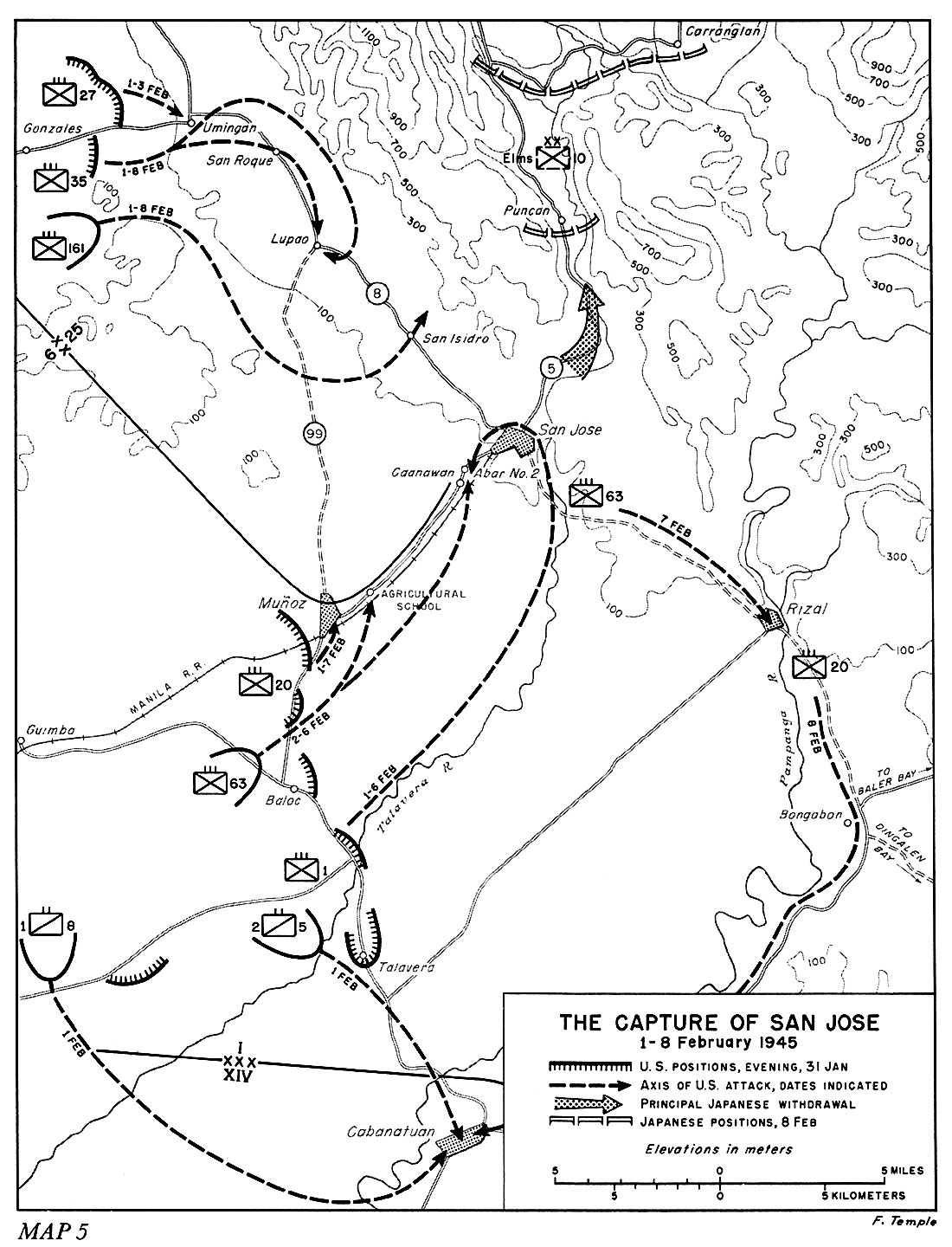hyperwar us army in wwii triumph in the philippines chapter 11  map 5 the capture of san jose 1 8 february 1945