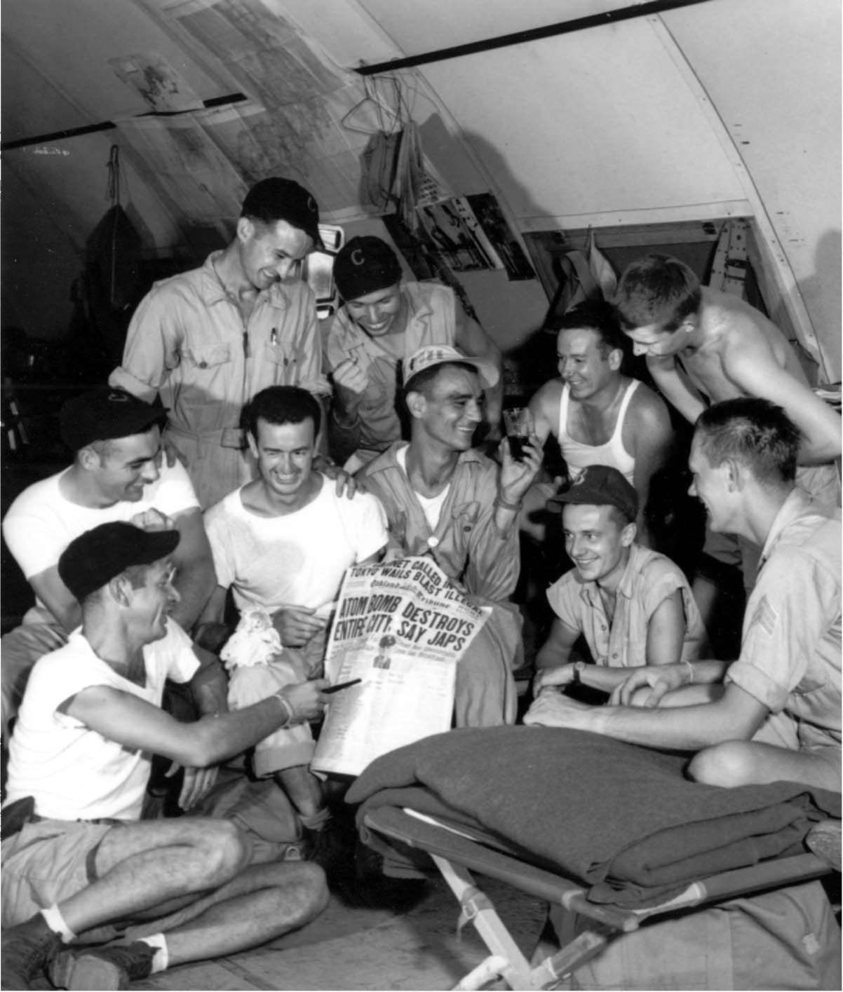 US PERSONNEL STATIONED ON GUAM Discussing The News Of First Atomic Bomb Dropped On Japan