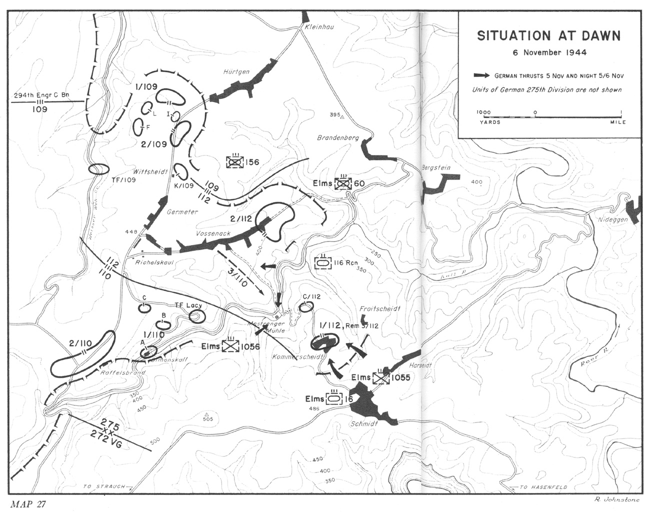 hyperwar three battles arnaville altuzzo and schmidt 116th Infantry Regiment Baseball Team situation at dawn 6 november 1944