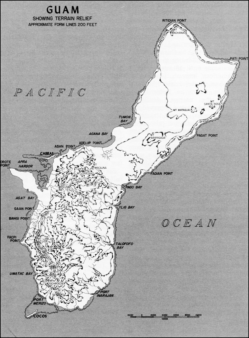 Hyperwar usmc operations in wwii vol iii central pacific drive guam showing terrain relief gumiabroncs