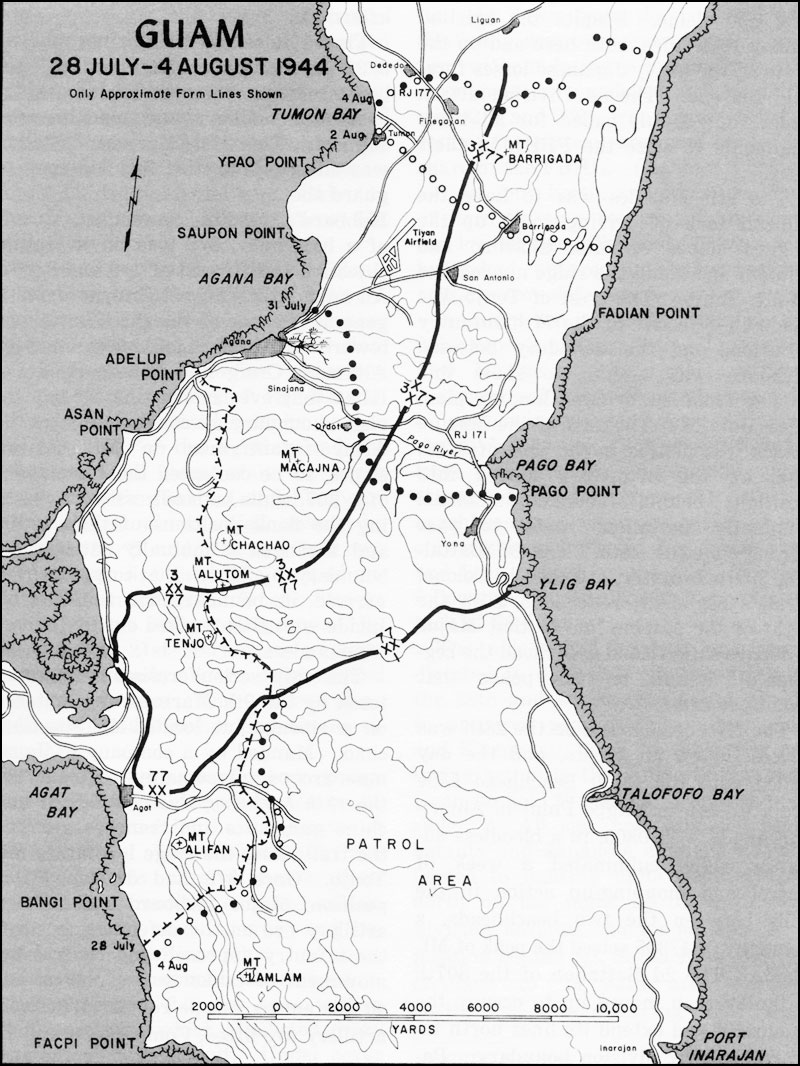 Hyperwar usmc operations in wwii vol iii central pacific drive guam 28 july 4 august 1944 gumiabroncs