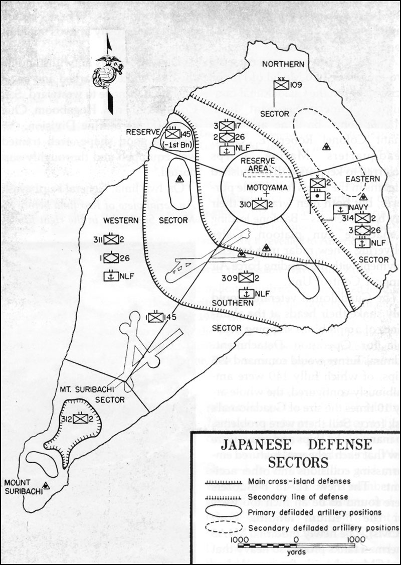 hyperwar closing in marines in the seizure of iwo jima 109th Infantry Division map 3 japanese defense sectors