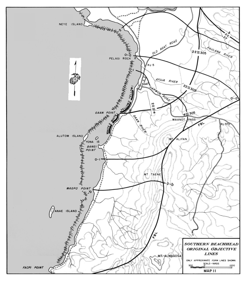 hyperwar usmc monograph the recapture of guam Naval Base Guam NAVFAC map 11 southern beachhead original objective lines