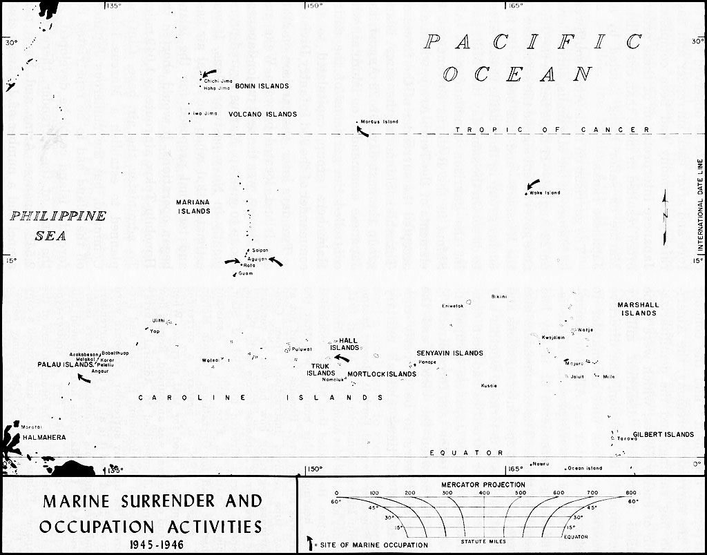 hyperwar usmc operations in wwii vol v victory and occupation Guam Cookie Cutter map 25 marine surrender and occupation activities