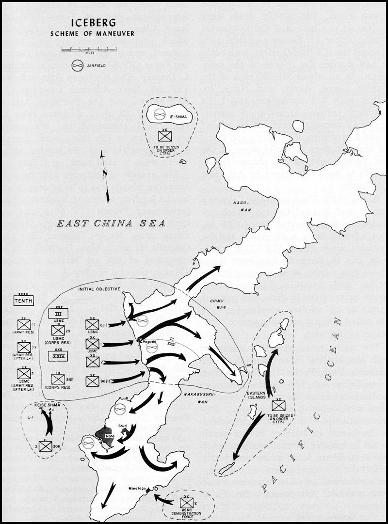 Map 18. ICEBERG (Invasion Of Okinawa) Scheme Of Maneuver