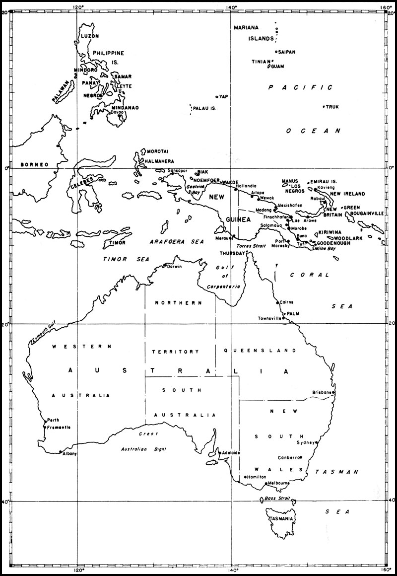 HyperWar Building The Navys Bases In World War II Chapter - Map of us drawn by australian