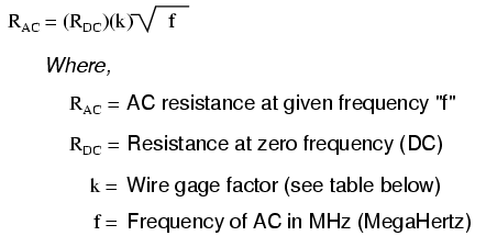 Lessons in electric circuits volume ii ac chapter 3 skin effect change in resistance from dc than small gauge wires at any given frequency the equation for approximating skin effect at high frequencies greentooth Image collections