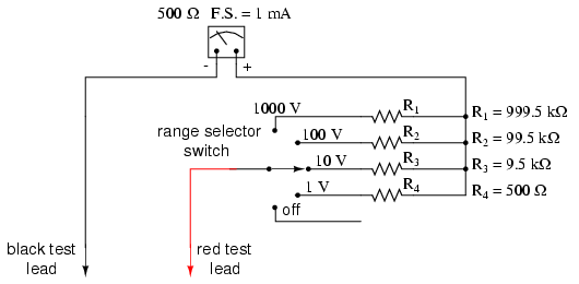 Lessons in electric circuits volume i dc chapter 8 for a voltmeter with ranges of 1 volt 10 volts 100 volts and 1000 volts the multiplier resistances would be as follows asfbconference2016 Image collections