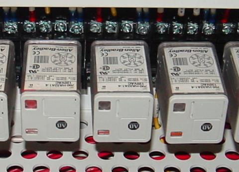 the relay units shown here are called octal base because they plug into matching sockets the electrical connections secured via eight metal pins on the