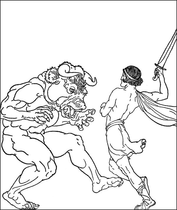 Греческие мифические герои подвиги раскраска