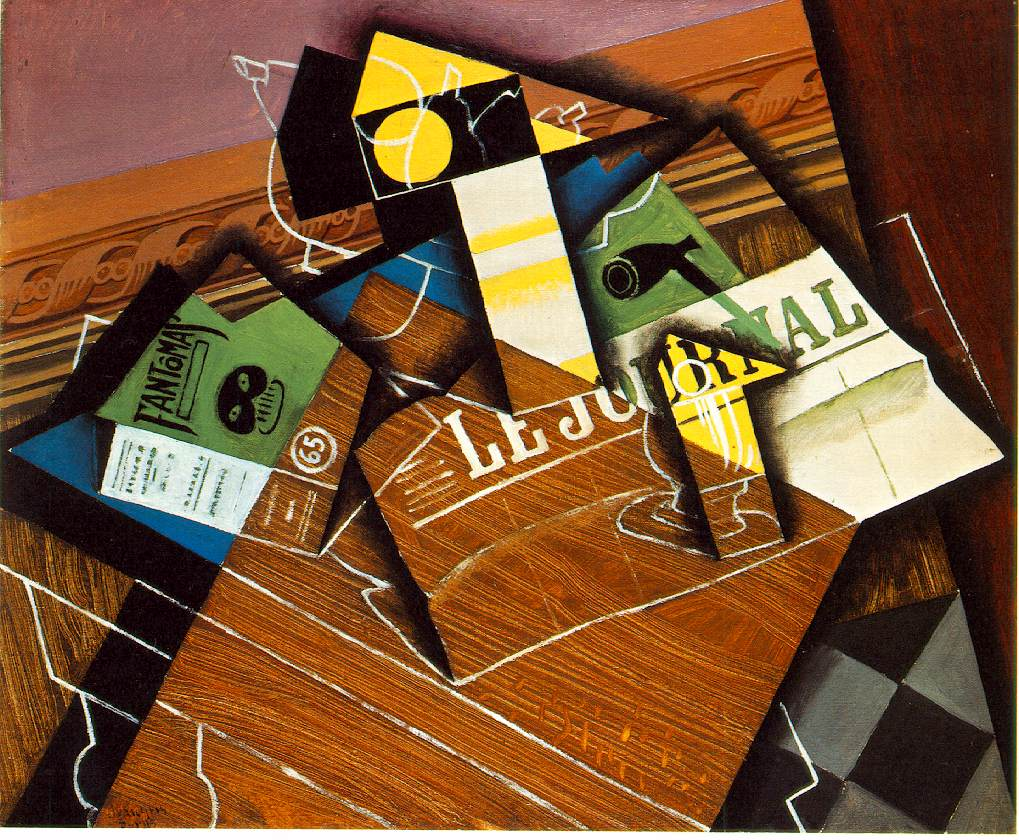 webmuseum gris juan fantomas pipe and newspaper. Black Bedroom Furniture Sets. Home Design Ideas