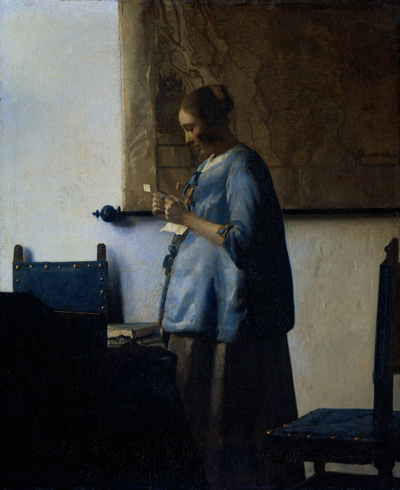 woman in blue reading a letter webmuseum vermeer jan in blue reading a letter 25664 | woman blue